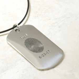 Memorial Fingerprint Dog Tag Necklace