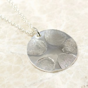 5 fingerprint fingerprint family necklace in sterling silver by Brent&Jess