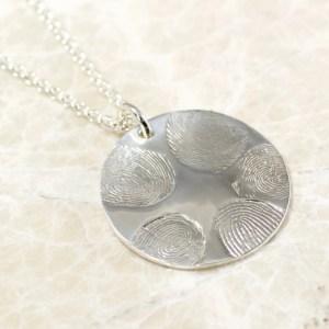 5 fingerprint fingerprint family necklace in sterling silver by Brent&Jess