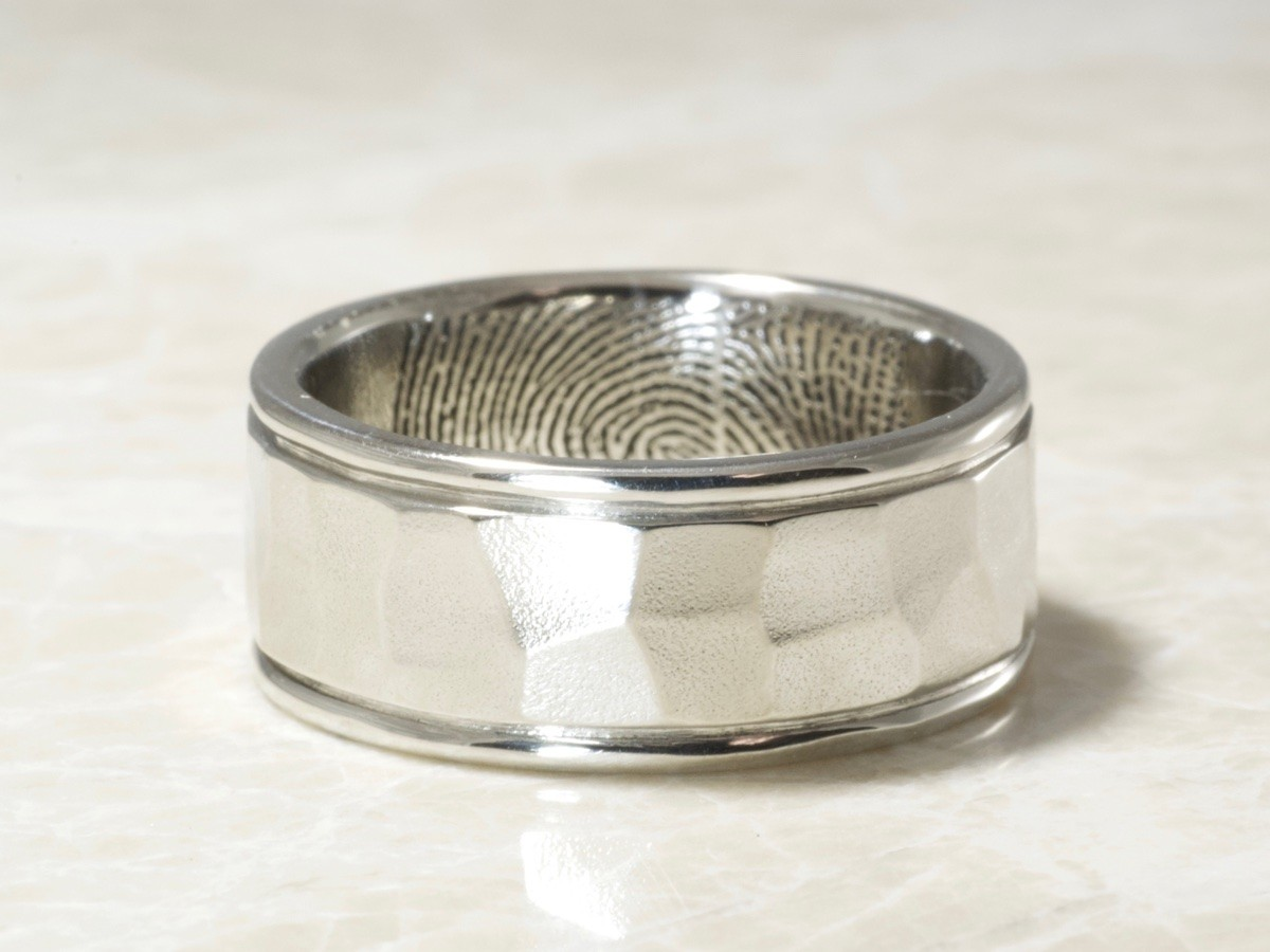 Custom Hammered rims fingerprint ring exclusively by Brent&Jess in Platinum
