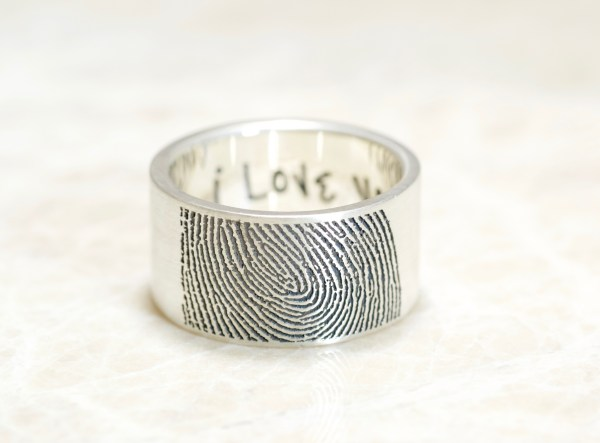 10mm Wide Fingerprint Wedding Ring with Tip Print on the Outside and Your Handwriting on the Interior