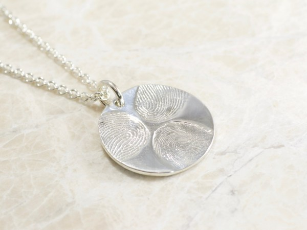 Custom Fingerprint Family Necklace in Sterling with 3 Fingerprints