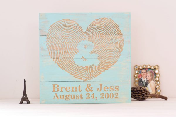 You and Me custom fingerprint wall art piece