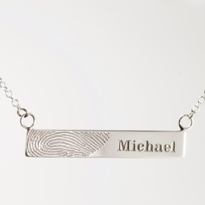 Small Sterling Silver Fingerprint Bar Necklace