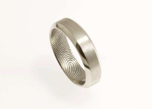 bevel edge fingerprint ring by Brent&Jess