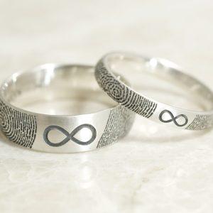 Custom You and me to infinity rings