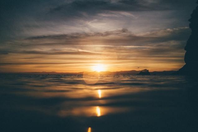 Amid the ocean waves at dusk
