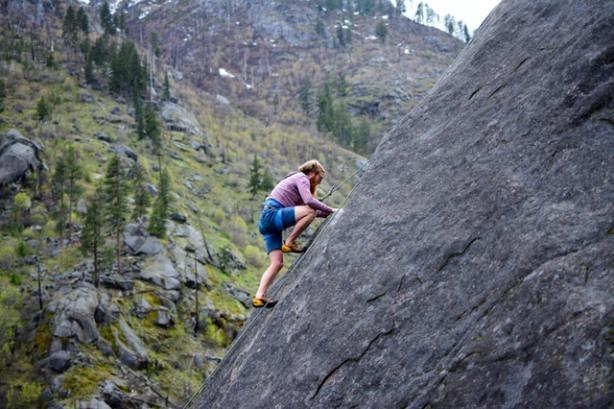 Man on a rock-climbing adventure
