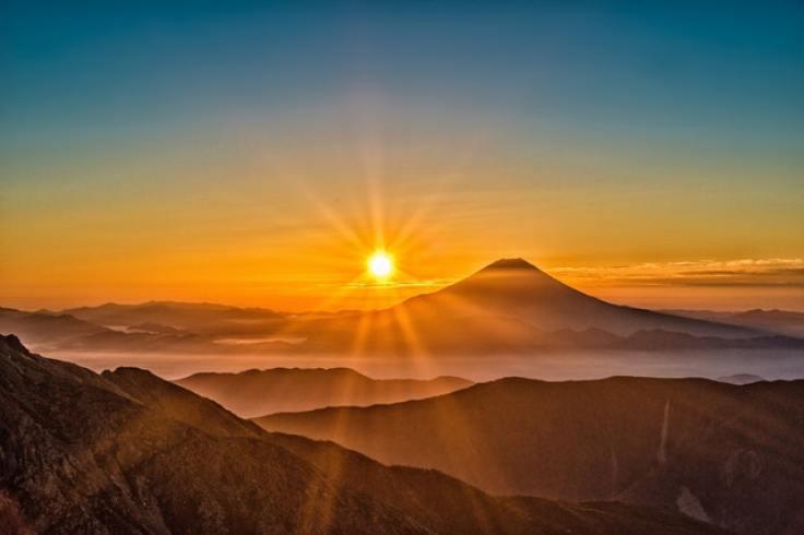 Sunrise of a mountainous landscape