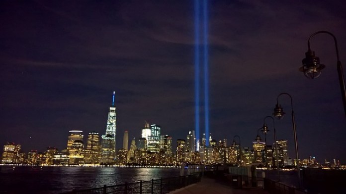 Two beams of light mark where the World Trade Center once stood
