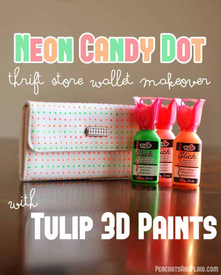 Neon candy button thrift store accessory makeover with Tulip 3D paint