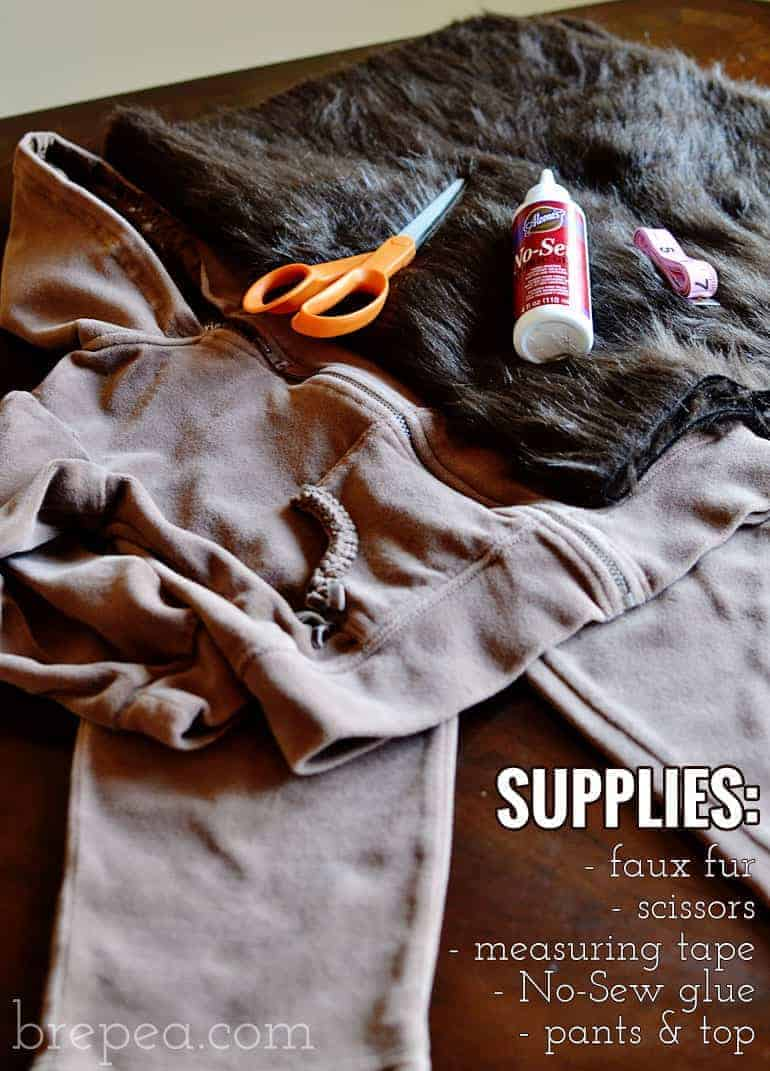 DIY furry animal halloween costume supplies