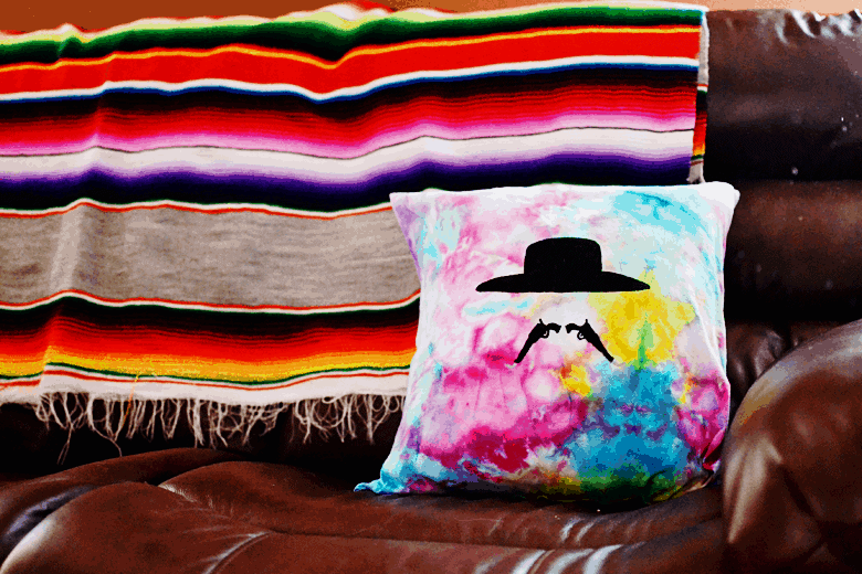 tie dye tombstone throw pillow