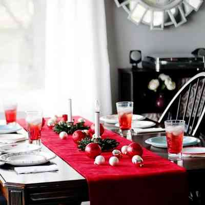 DIY Pottery Barn Knock Off Velvet Holiday Table Runner