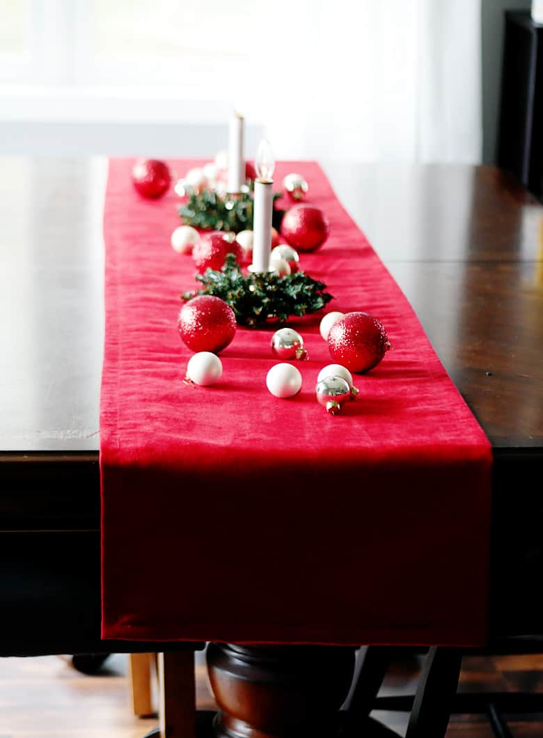 This DIY Pottery Barn Velvet Table Runner can be made for under $20!