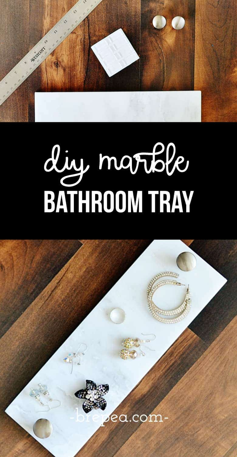 This easy DIY marble toilet tank tray is the perfect solution for toilet tank decor and organization for a small bathroom.