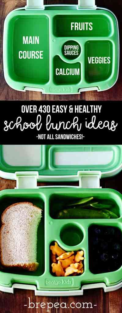 Find all the inspiration you need to pack healthy school lunches with these 430+ ideas for school lunch ideas for kids (not all are sandwiches)!