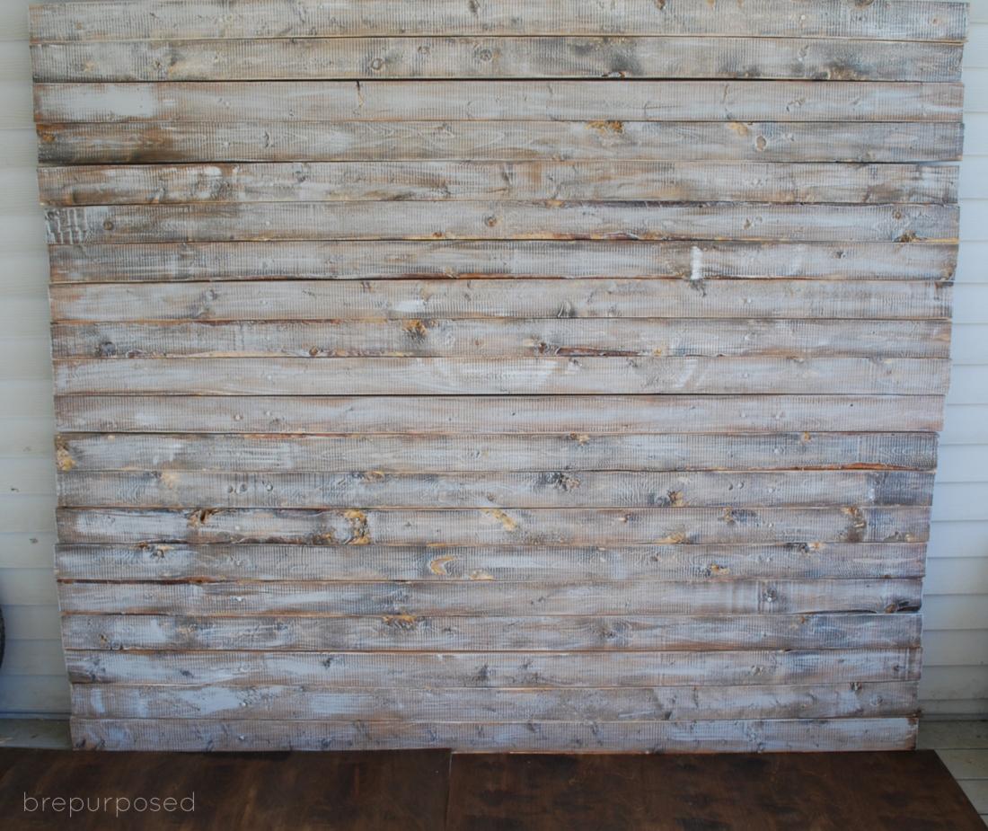 Relatively DIY Faux Distressed Wood Backdrop | brepurposed EW64