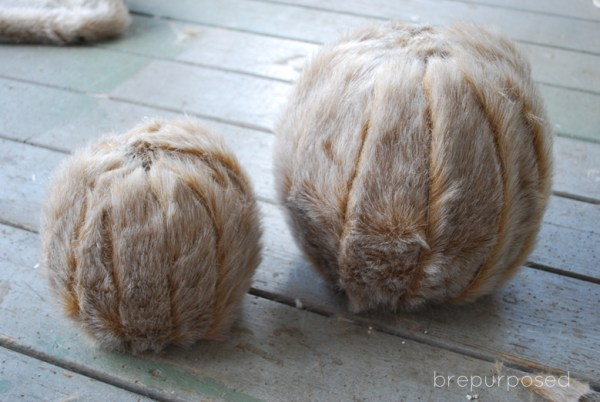 DIY Faux Fur Covered Pumpkins