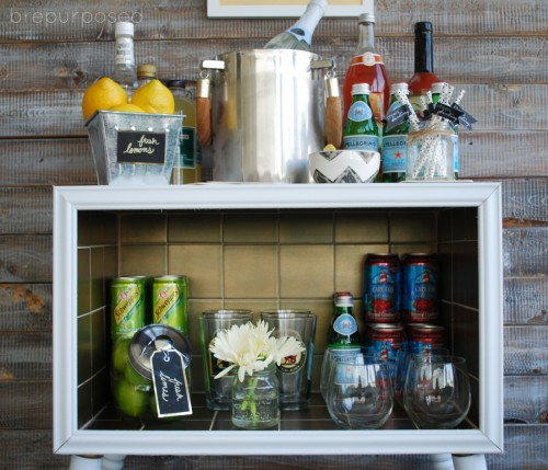 Gold Tiled Bar Cart