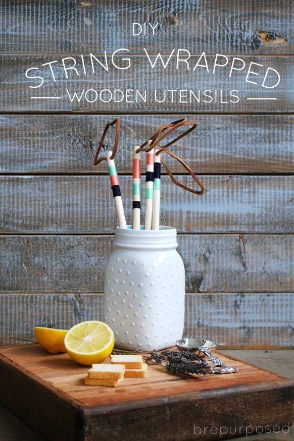 DIY String Wrapped Wooden Utensils
