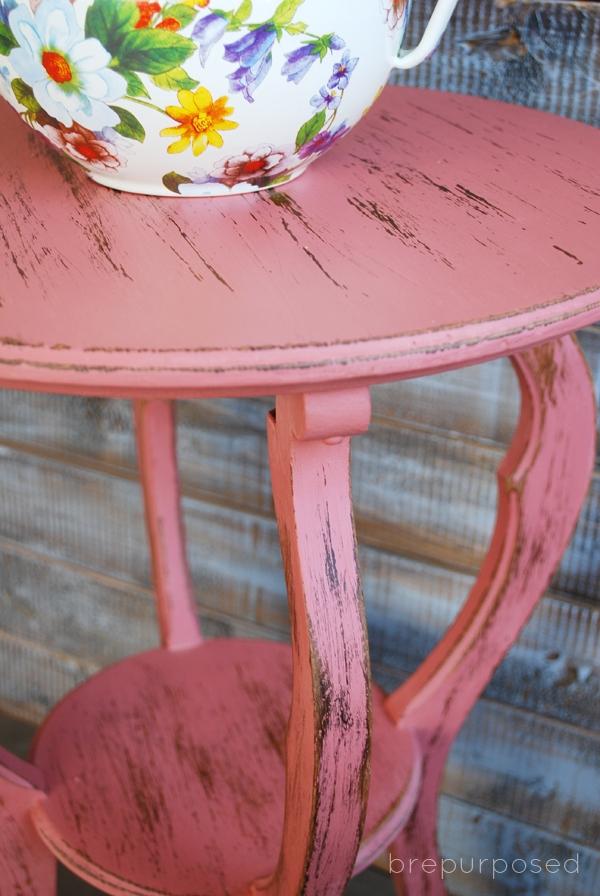 Distressed Scandinavian Pink Side Table