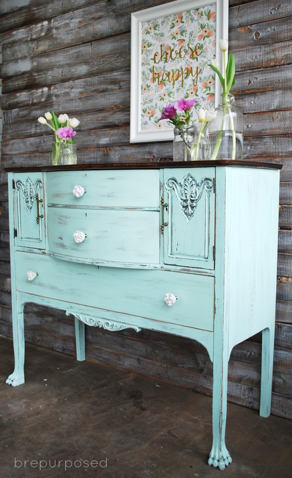 Chalky Finish Mint and Floral Buffet