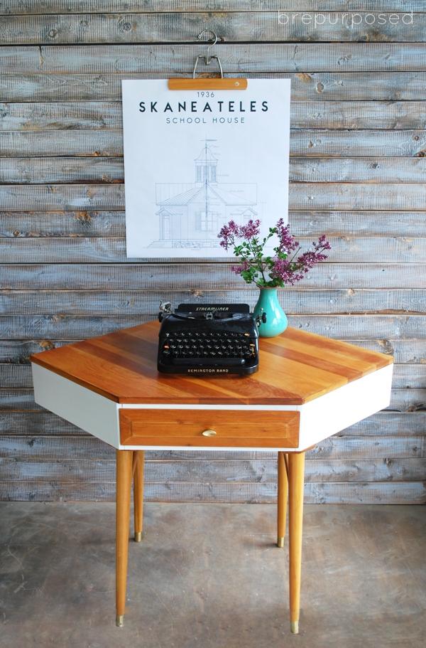 Mid Century Modern Corner Table Makeover