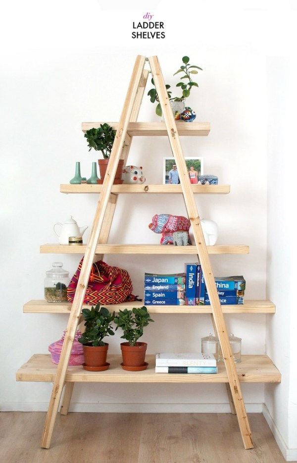 DIY Ladder Shelves