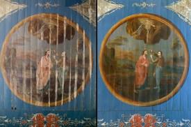 Detail der mittelalterlichen Deckenmalerei. Links: Vorzustand. Rechts: Endzustand.