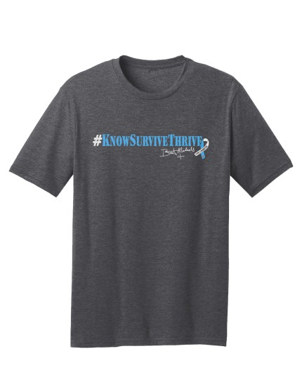 #KnowSurviveThrive Hashtag tee - super soft heather charcoal tee