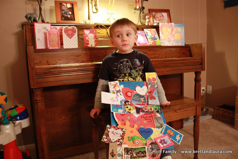 Ethan and all of his Valentine's cards.