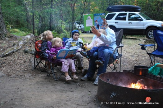 Laura reads to the kids while camping at Mt. Rainier National Park