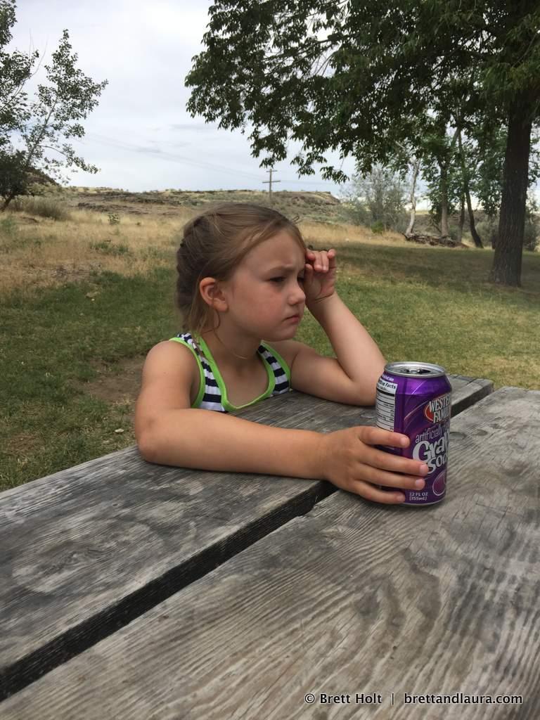 Tough day. Grape soda helps.