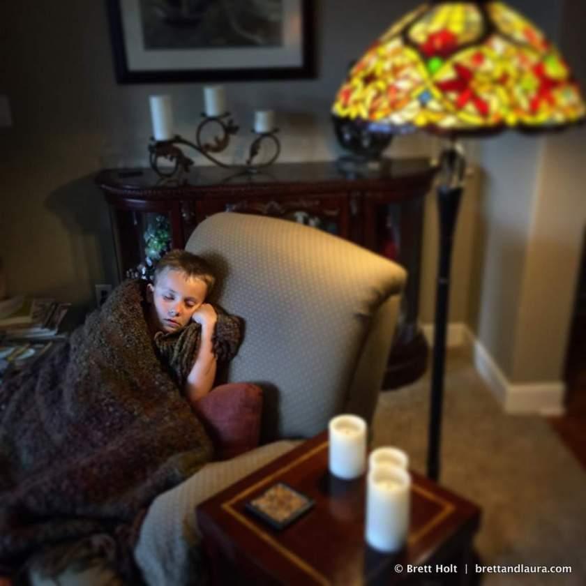Ethan's enjoys a nap at his grandparents home
