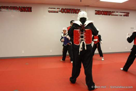 Ethan spars in TKD
