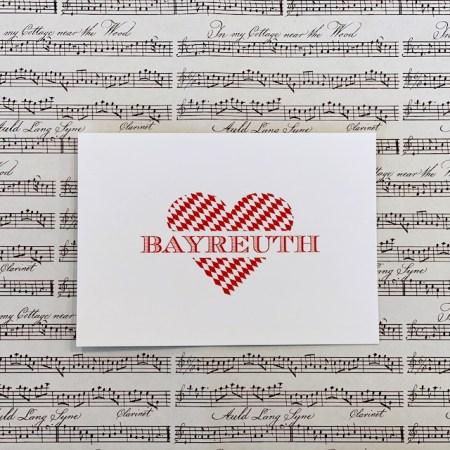 Bayreuth Buchhandlung Breuer und Sohn Postkarte Bayreuth Herz Rot
