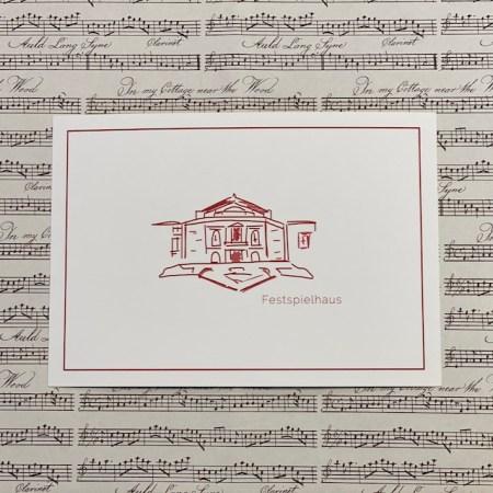 Bayreuth Buchhandlung Breuer und Sohn Postkarte Festspielhaus 1