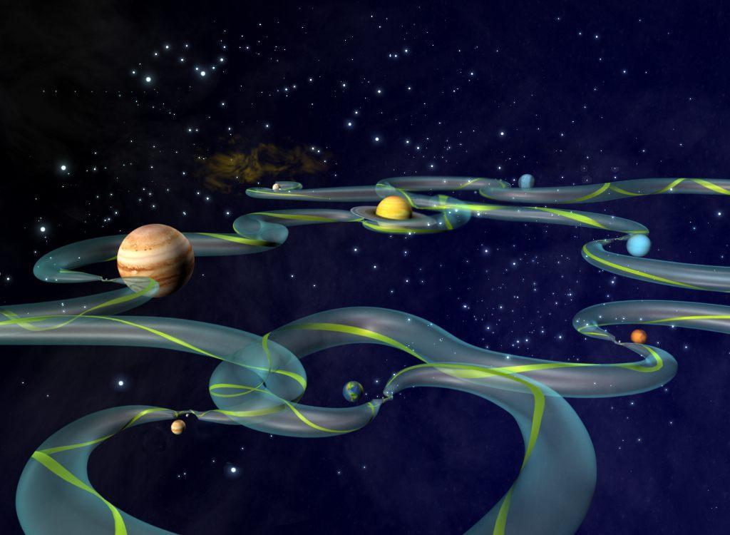 Représentation artistique des «courants de gravité» - POINTS DE LAGRANGE ET MISSIONS INTERPLANÉTAIRES - ETUDES SPATIALES21/01/2013 - Mathématiques de la planète Terre - BRÈVES DE MATHS
