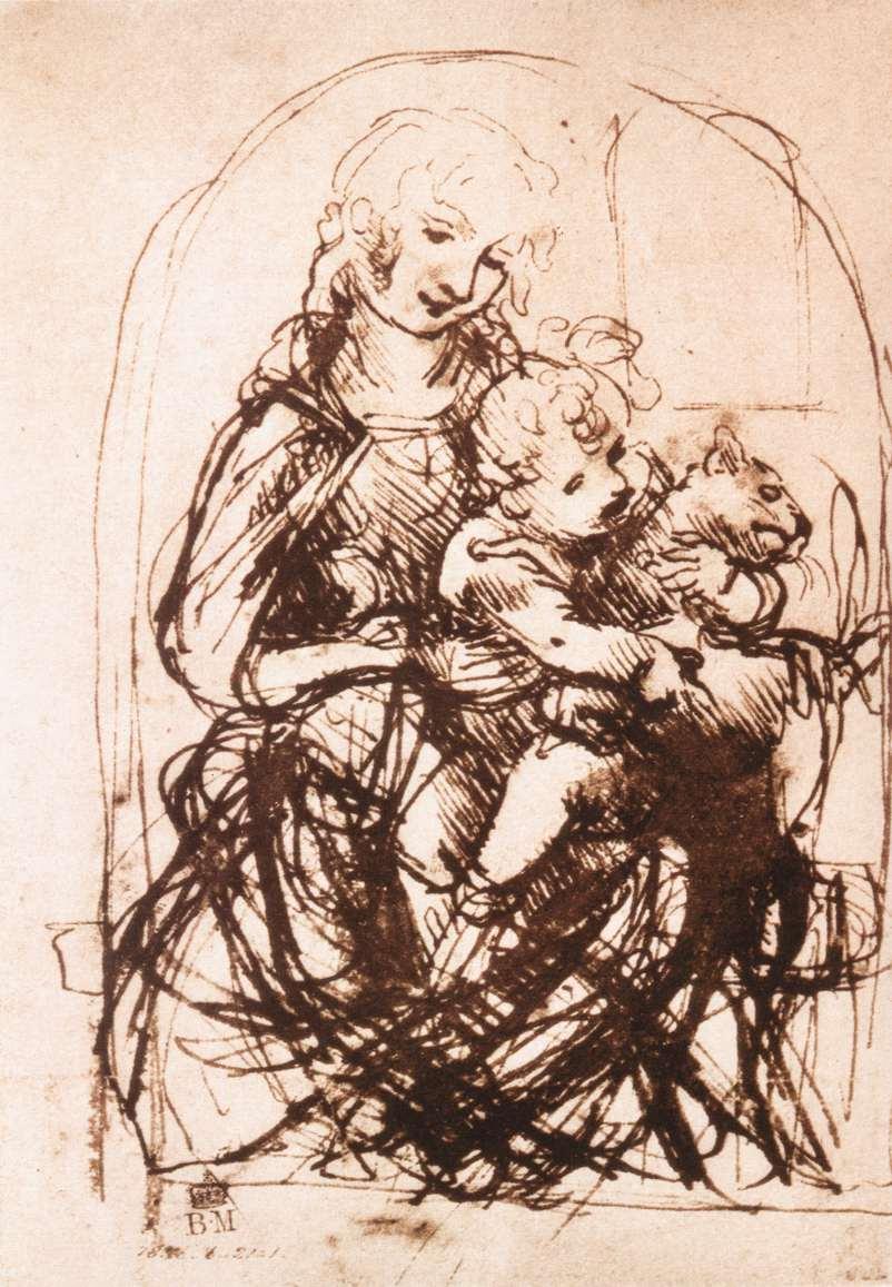 Leonardo-da-Vinci-Madonna-con-Bambino-e-Gatto