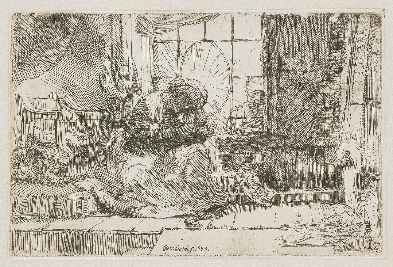 Rembrandt – Vergine con Bambino e gatto
