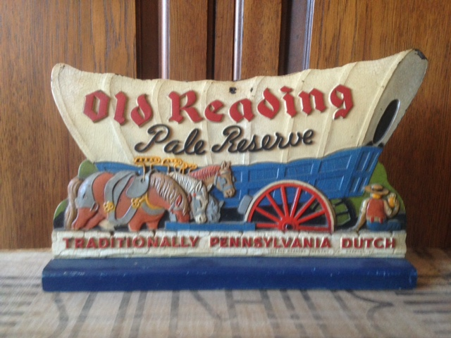 old reading pale reserve beer wagon sign kirby-coggeshall-steinau co
