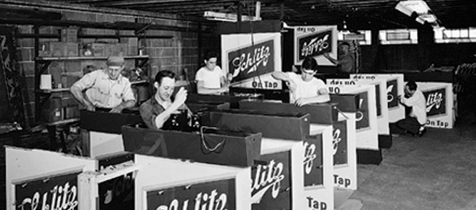 Schlitz outdoor porcelain sign manufacturer