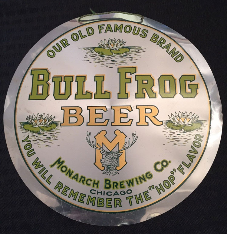 Bull Frog Beer Lee See Button Sign