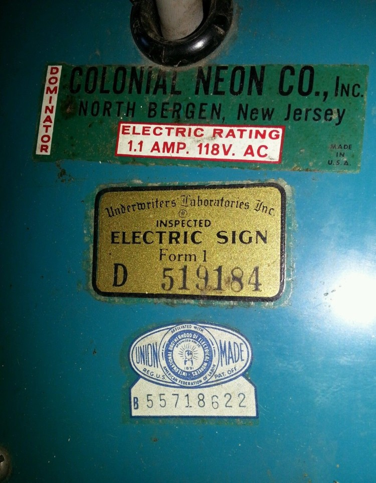 Colonial Neon Co. Inc. Decal