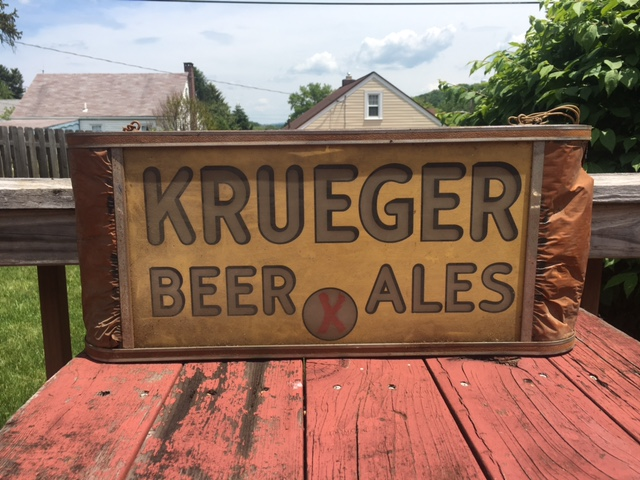 Krueger Beer Ales Glass Lighted Box Sign