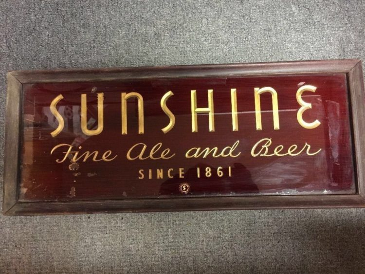 Sunshine Fine Ale and Beer Glass Sign