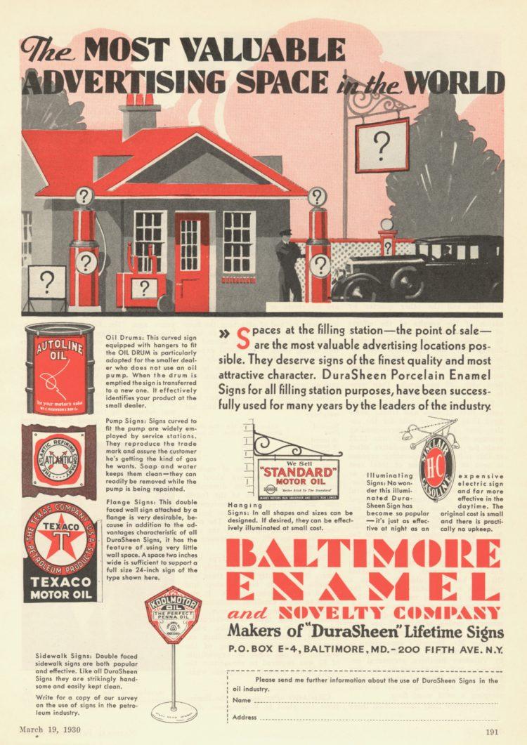 Baltimore Enamel & Novelty Company Ad