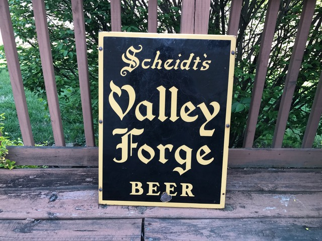 Scheidts Valley Forge Beer Porcelain Sign