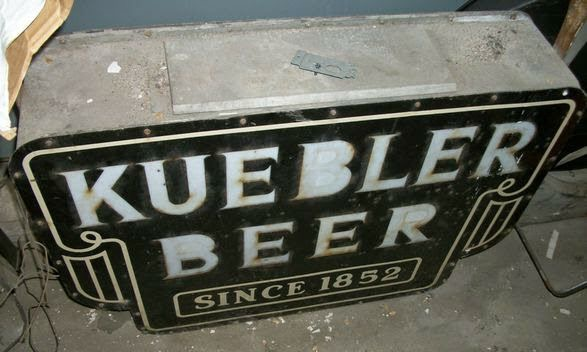kuebler beer since 1852 outdoor metal milk glass sign